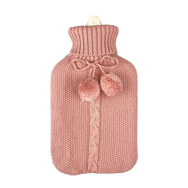 Hot Water Bottle & Cover - Dusty Pink Pom Pom