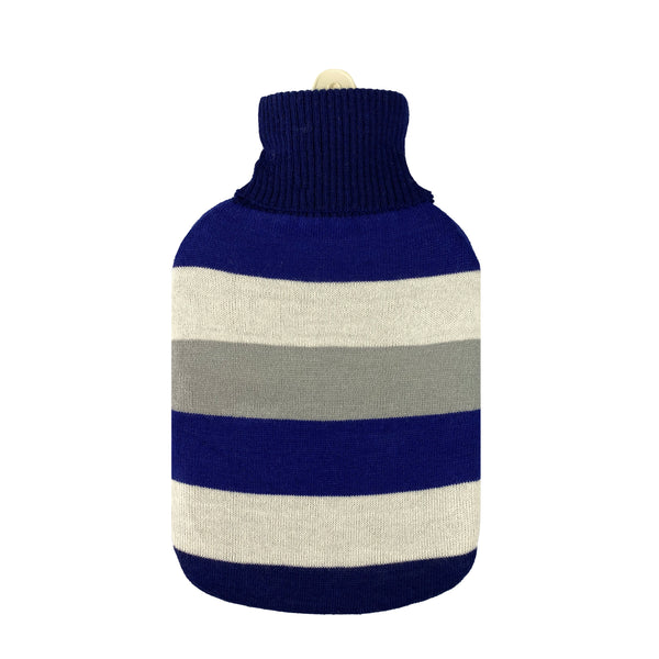 Hot Water Bottle & Cover - Navy Stripes