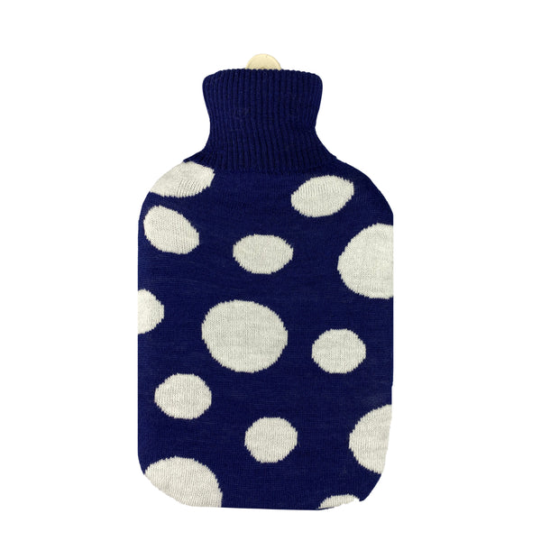Hot Water Bottle & Cover - Navy Dots