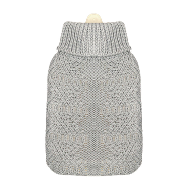 Hot Water Bottle & Cover - Grey Cable Knit - The Grain Shop Online Store