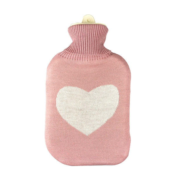 Hot Water Bottle & Cover - Love Heart Knit