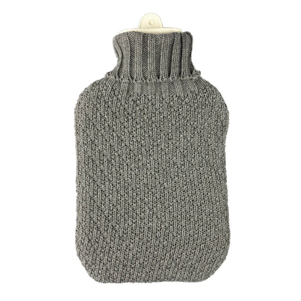 Hot Water Bottle & Cover - Grey Thick Knit