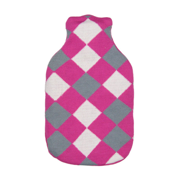 Hot Water Bottle & Cover - Pink Argyle - The Grain Shop Online Store