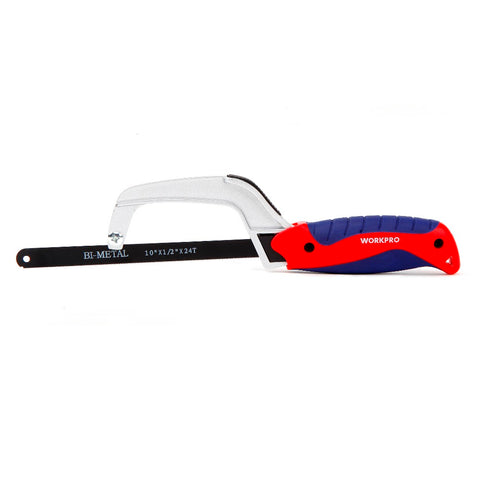 "WORKPRO 10"" Mini Saw Easy release blade Aluminum Hacksaw with Rubber Handle"