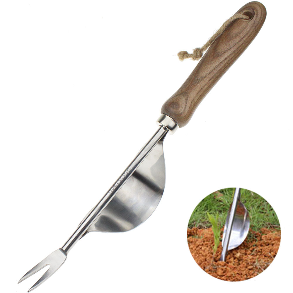 1Piece Manual Weeder Fork Stainless Steel Wood Handle Gardening Weeding Tool Garden Transplanting Digging Tools