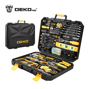 DEKOPRO 168 Pcs Hand Tool Set General Household Hand Tool Kit with Plastic Toolbox Storage Case Socket Wrench Screwdriver Knife