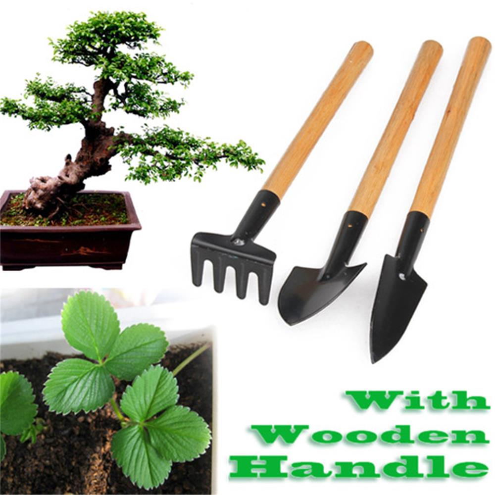 3pcs Mini Garden Tools Portable Shovel Tools Set Shovel Rake Spade Garden Plant Tool Set With Wooden Handle Kids Outdoor Tools