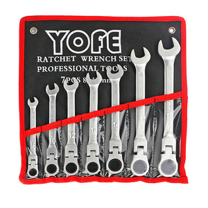 7pc auto repair hand Flexible Head Ratchet Combination wrench