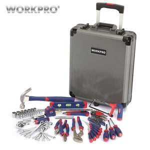 WORKPRO 111PC Tool Set Hand Tools with Aluminum Trolley Case