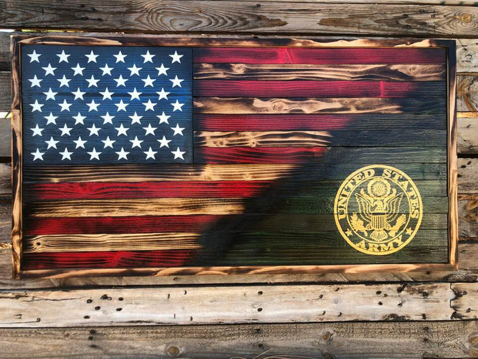 70/30 Rustic Branch Emblem w/ Optional Coin Rack - Your American Flag Store