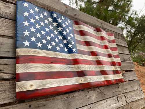 Hand Carved Waving Flag - Your American Flag Store