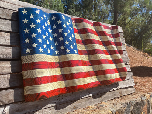 Hand Carved Large Waving Flag (44