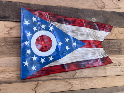 Hand Carved Ohio Waving Flag