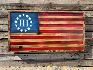 Rustic III %'er Flag - Your American Flag Store