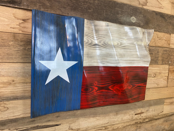 Hand Carved TEXAS Waving Flag