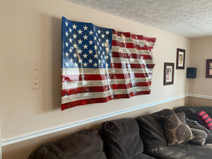 "Hand Carved XL Waving Flag (74"" X 40"")"