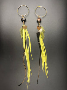 Long Hekate Goddess Green Feather Hoop  Earrings