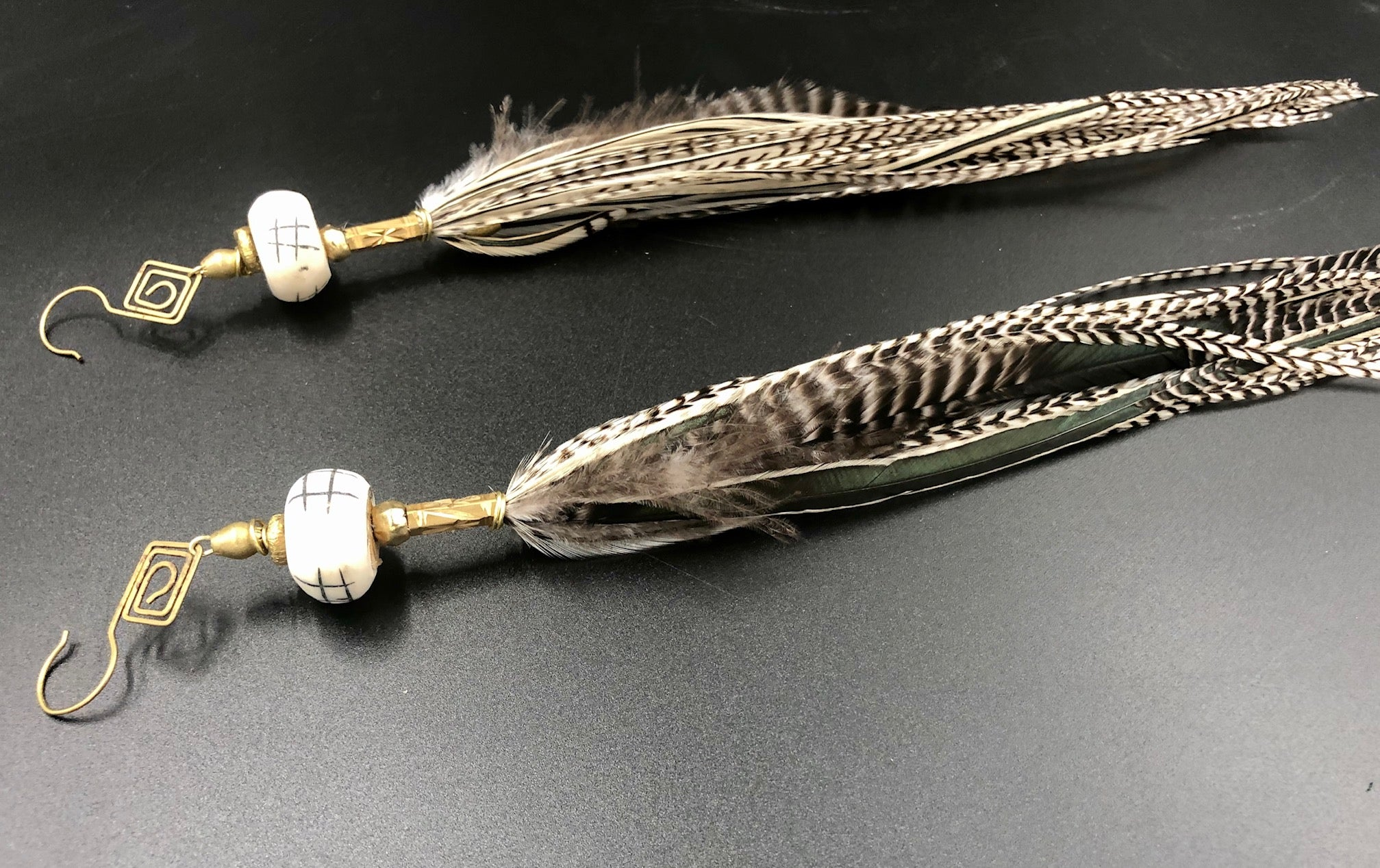 Long Black & White Striped Hekate Goddess Feather Earrings