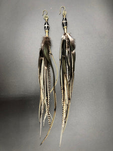 Long Black And White Hekate Feather Earrings