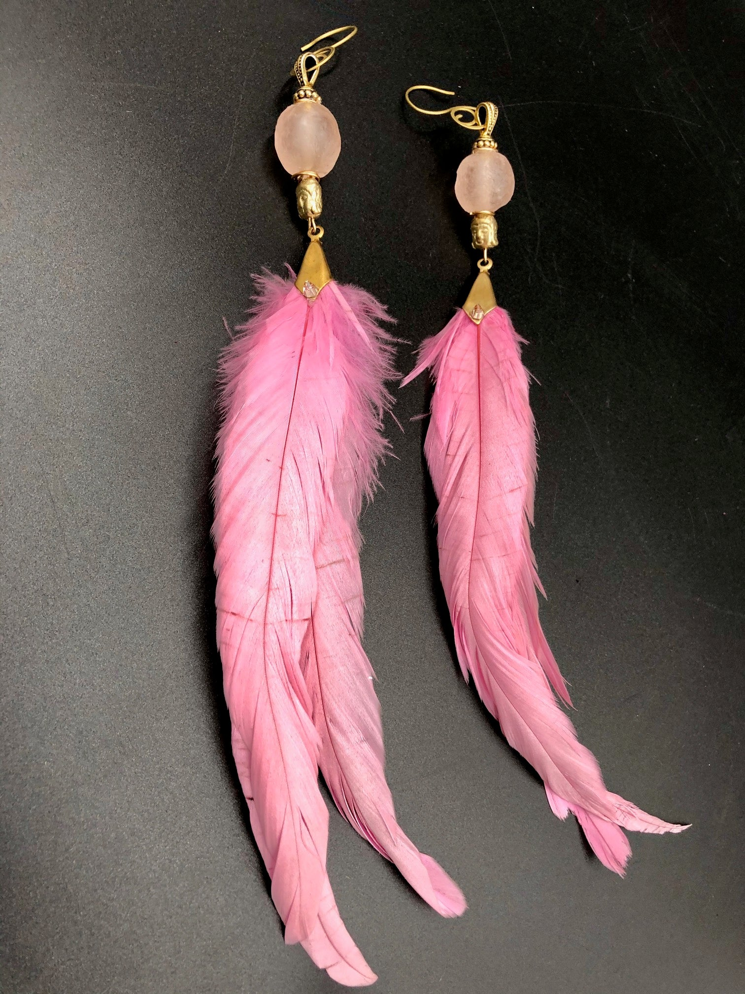 Hekate Goddess Pink Feather Earrings