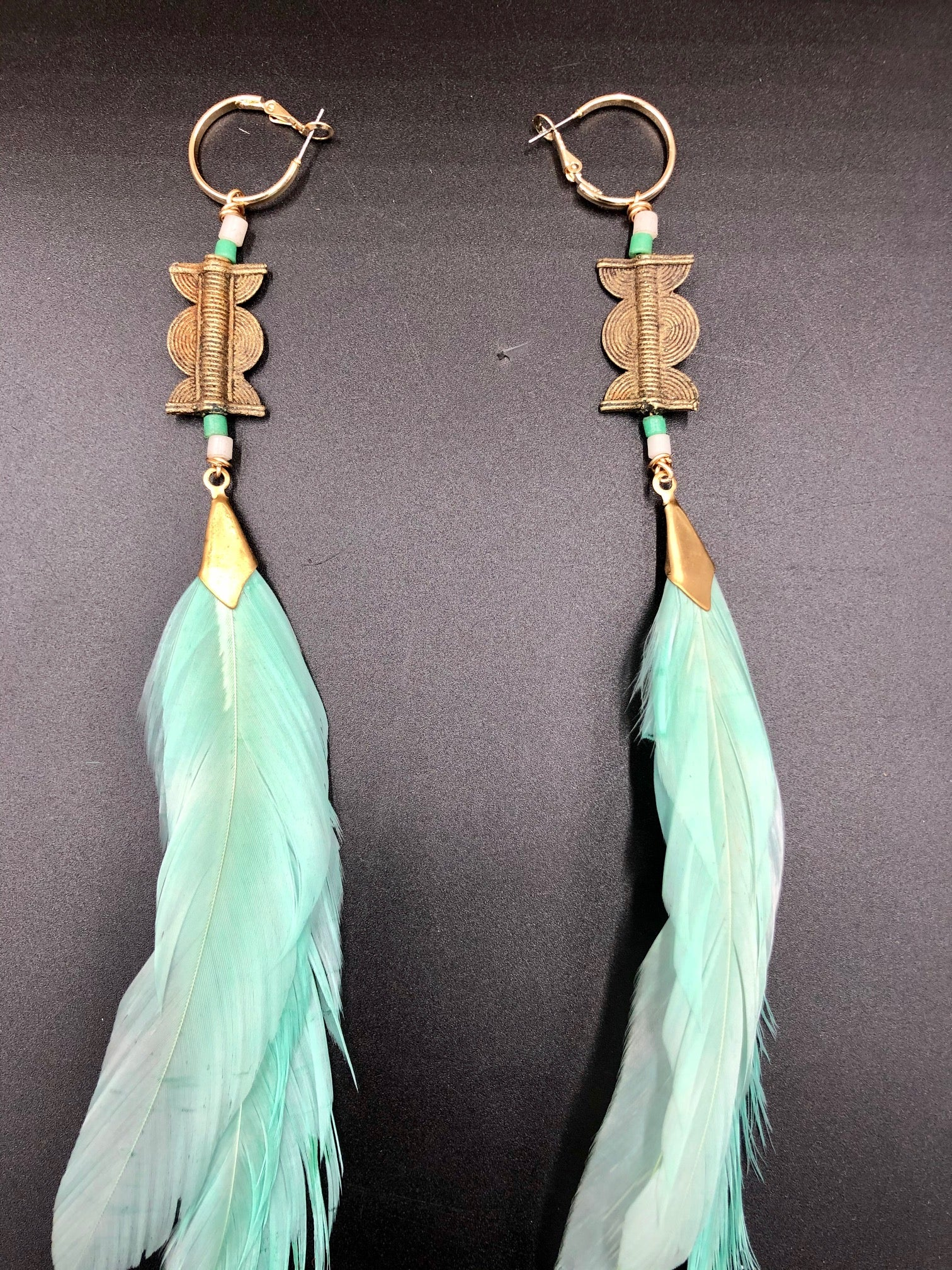 Hekate Goddess Baby Blue Feather Earrings