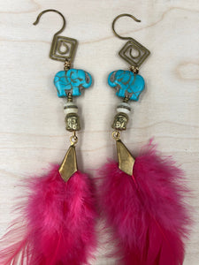 Hekate Goddess Hot Pink Feather Earrings