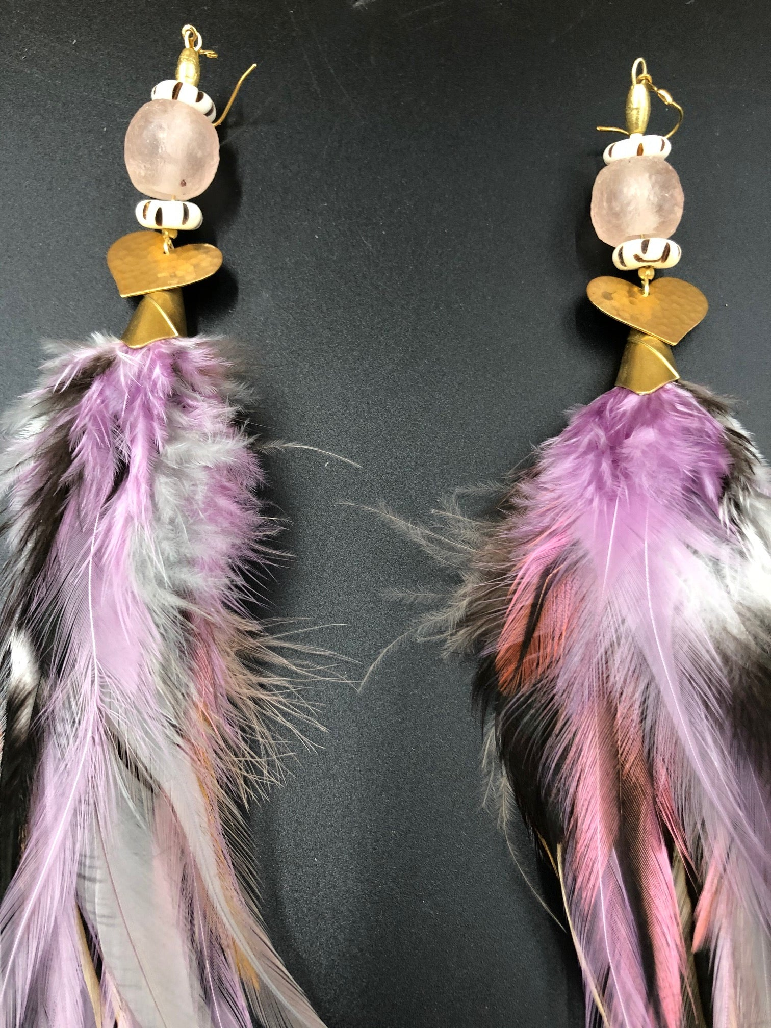 Hekate Goddess Lavender & Black Feather Earrings