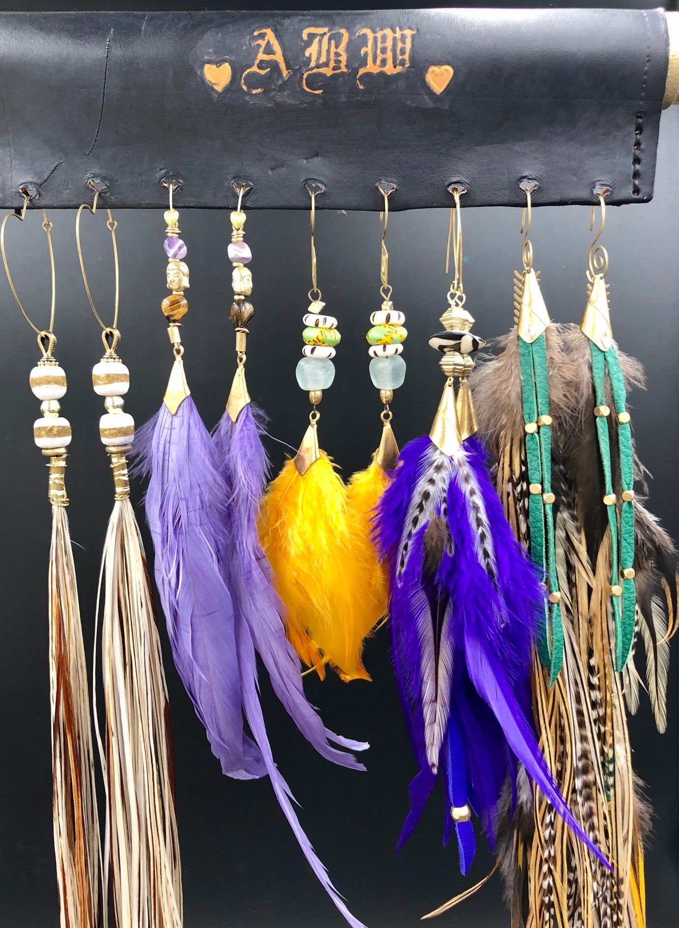 Hekate Goddess yellow Feather Earrings
