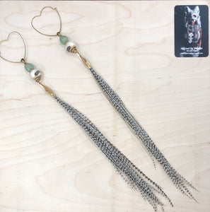 Long Heart Black & White Hekate Goddess Earrings