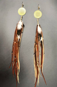 Long Brown & mixed colored Hekate Goddess Earrings With Geometry Brass Adornment