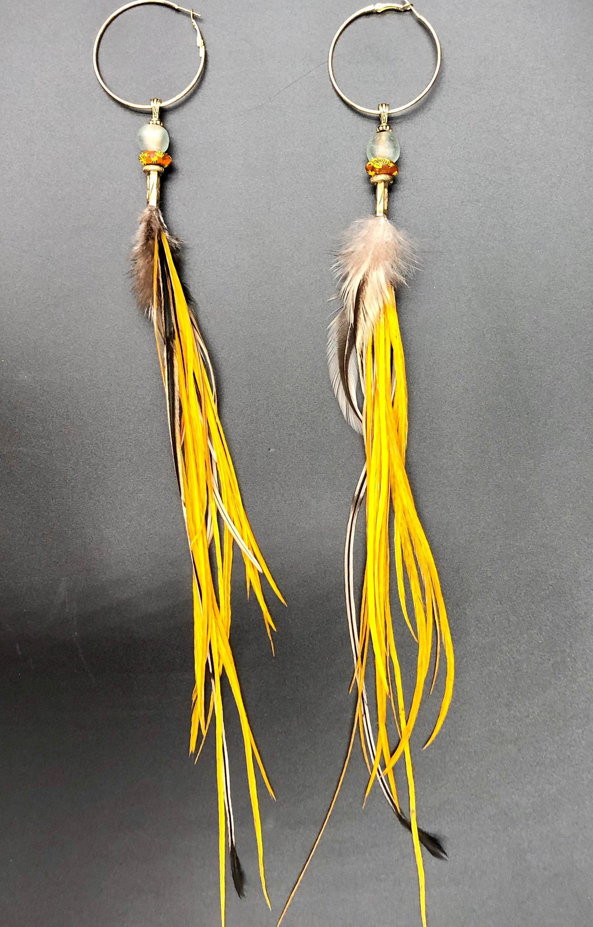 Long Tangerine Multi Colored Hekate Feather Earrings