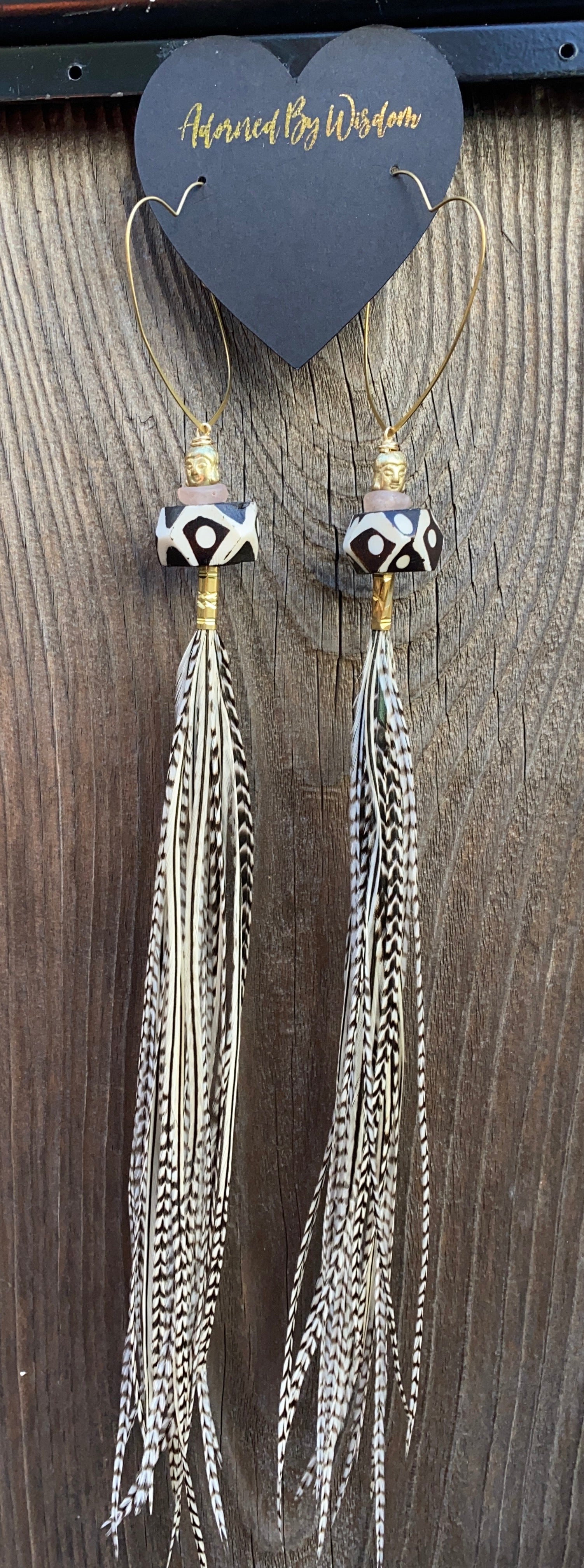 Buddha Warrior Hekate Goddess Black And White Striped Feather Earrings