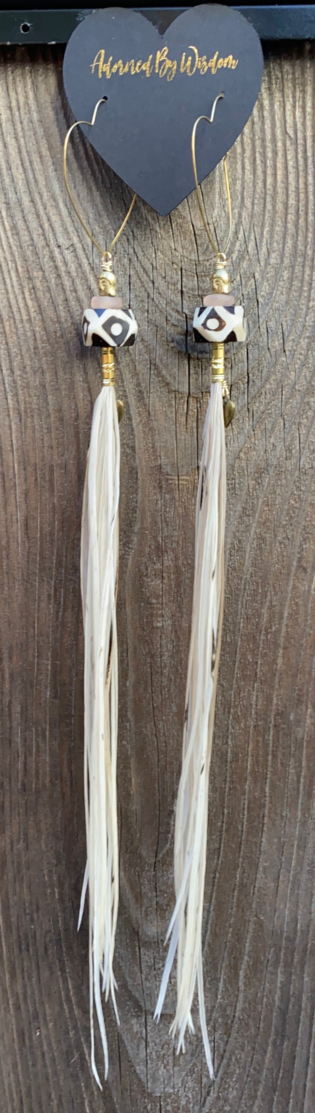 Buddha Warrior Hekate Goddess White Feather Earrings