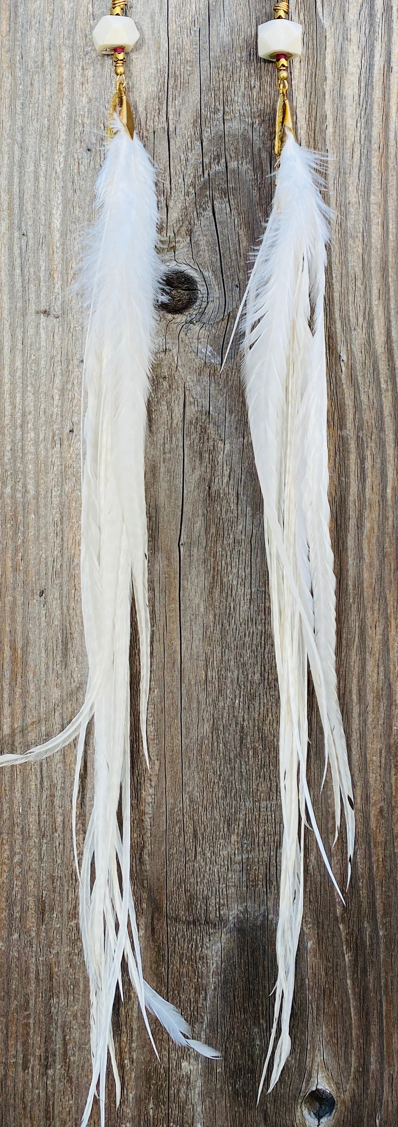 Extra Long Hekate Goddess White Feather Earrings