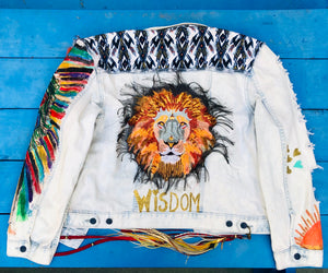 """Warrior Within""  Hand Painted Recycled Embroidered Denim Jacket Size Large"