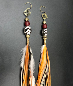 Long orange,black & white Hekate Goddess Earrings