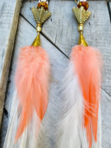 Extra long Hekate Goddess White & peach Feather Earrings