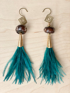 Hekate Teal Ostrich Feather eGoddess Earrings