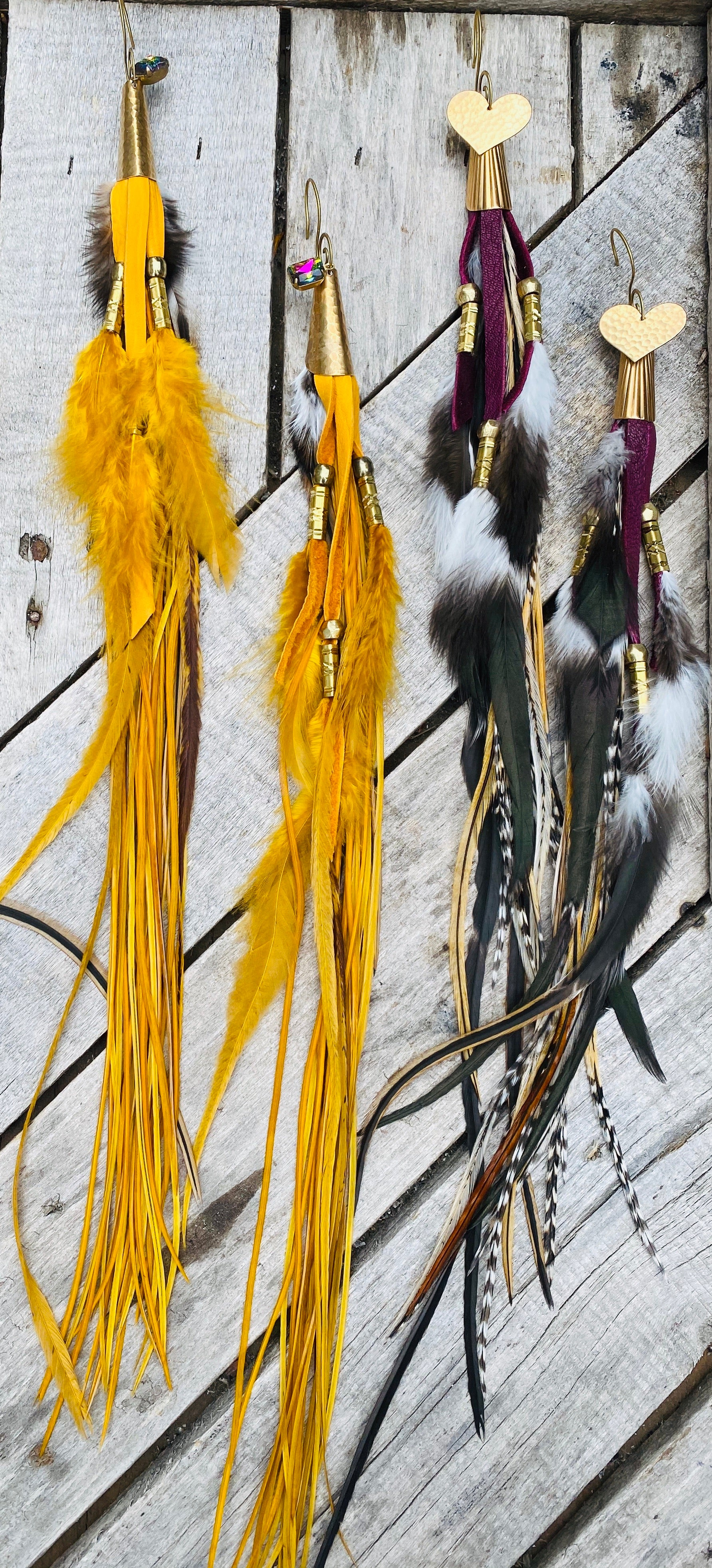 Long Hekate Goddess Leather & Feather Earrings