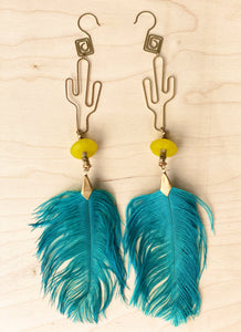 Hekate Goddess Teal Feather Earrings