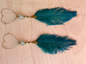 Heart Hekate Goddess Teal ostrich Feather Earrings