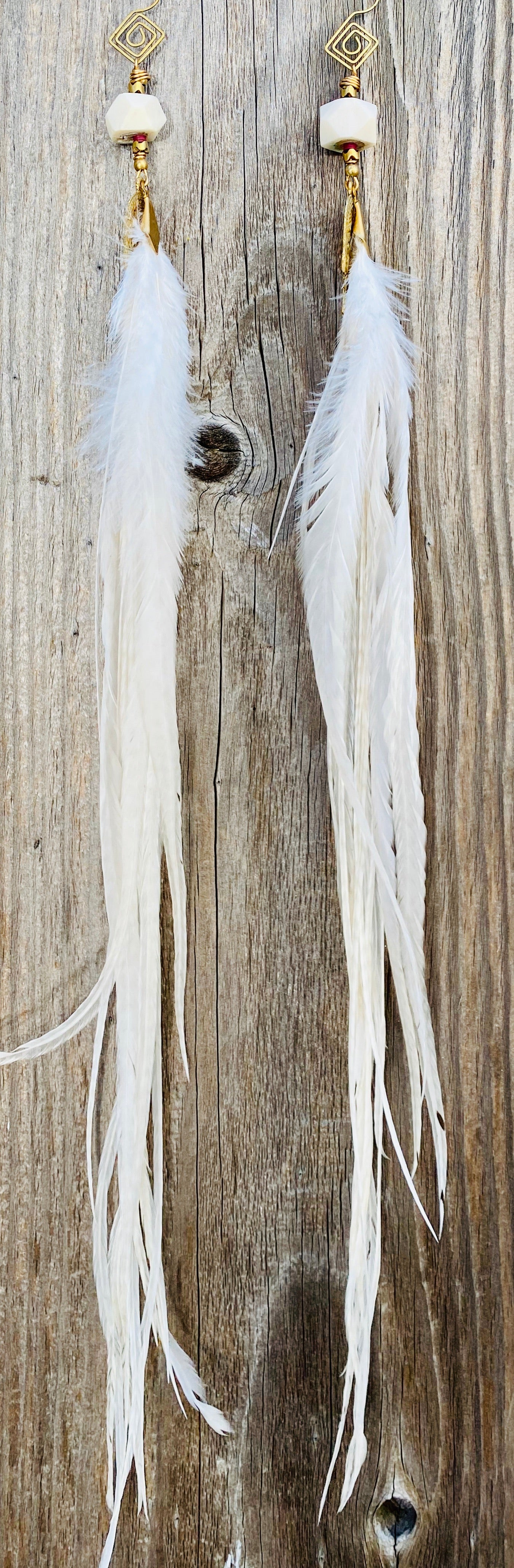 Extra Long white  Heakate Goddess Feather Earrings
