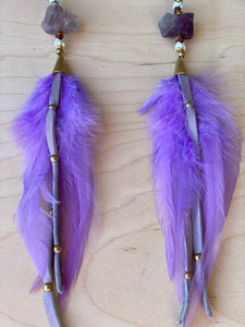 Heart Hekate Goddess Lavender Feather Earrings