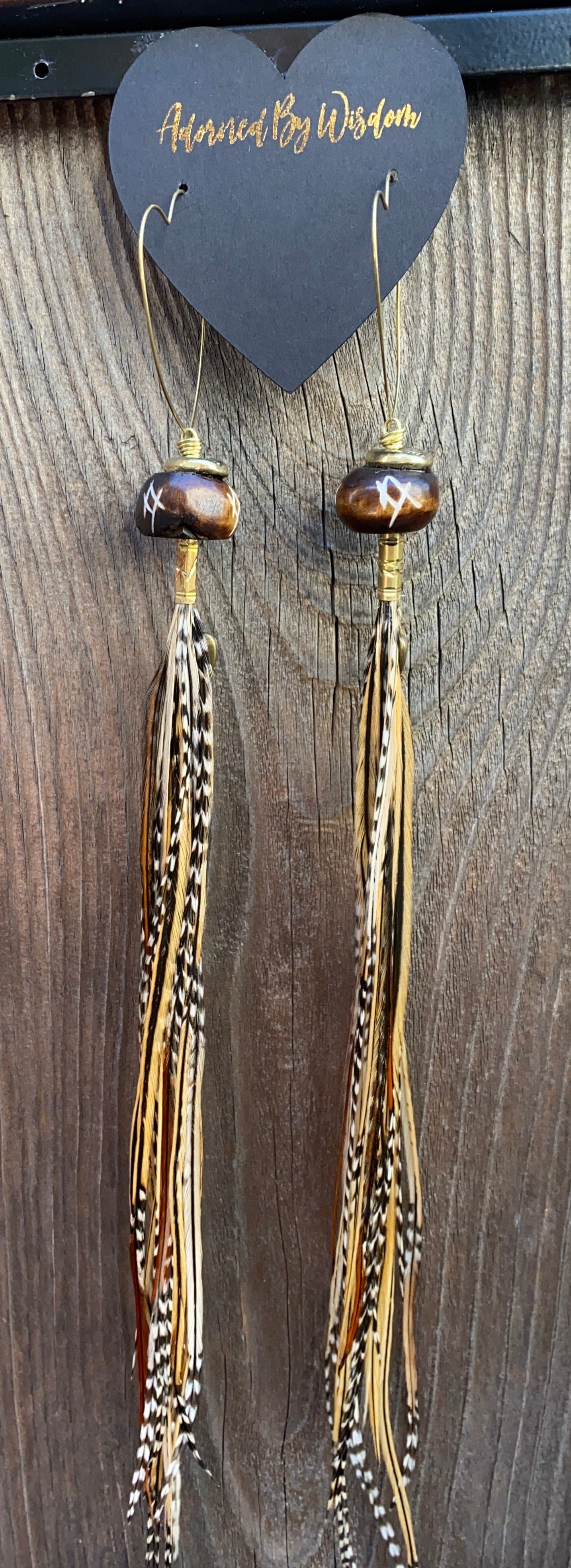 Long Earth tone Heart Hekate Goddess Feather Earrings