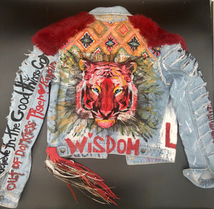 """Tiger of Truth"" Hand Painted Recycled Embroidered Denim Jacket Size Small"