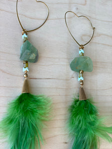 Heart Hekate Goddess Green Feather Earrings