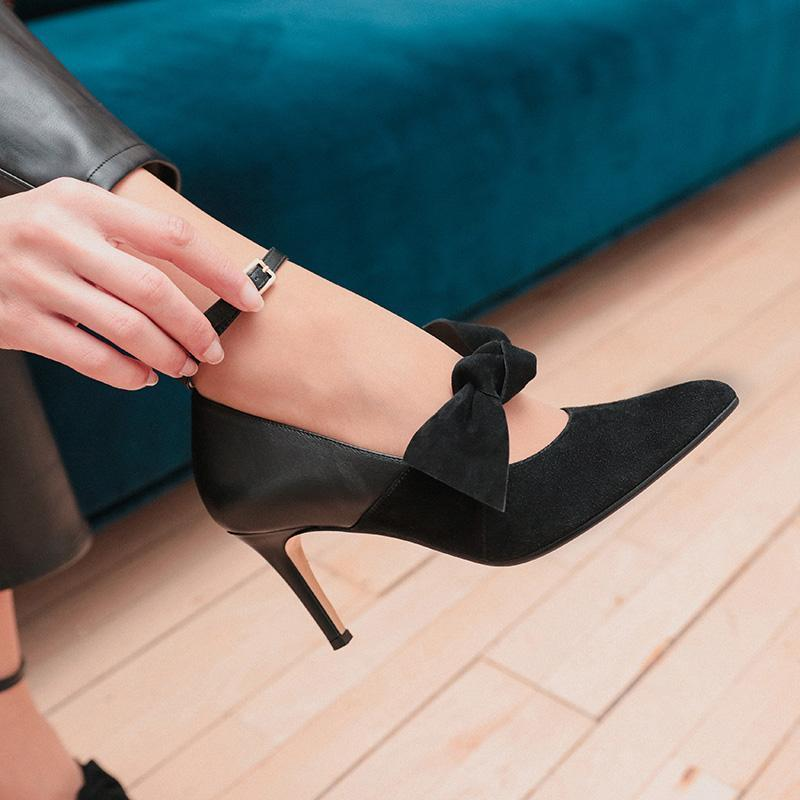 bella-black-suede-bow-pump-roccamore