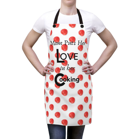 Mom Cooks With Love Apron - Mom Aprons - Birthday Gifts For Moms