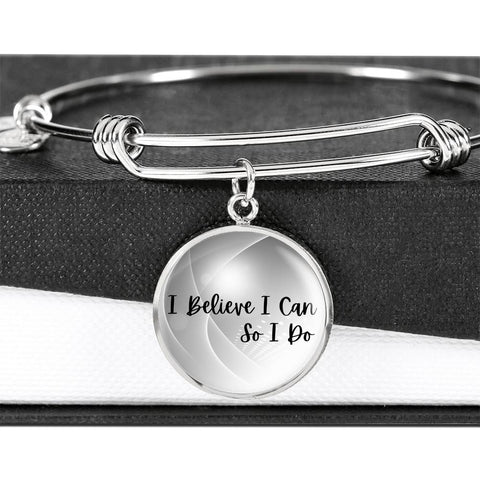 Believe In Yourself Adjustable Bracelet - Luxury Bangle Bracelet for Her - Inspirational Wrist Jewelry