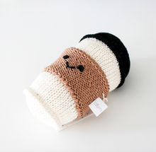 knitted coffee cup rattle